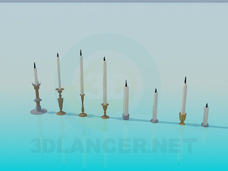 3d modeling Candles in candlesticks model free download