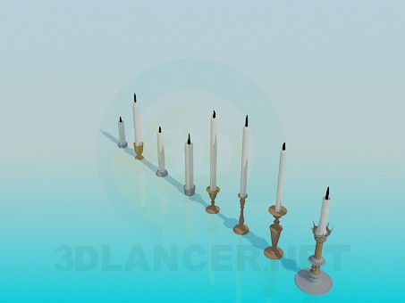 3d model Candles in candlesticks - preview