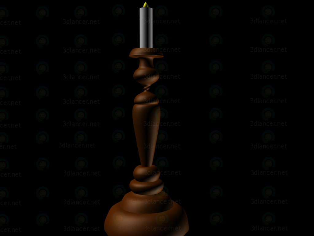 3d model candlestick with candle - preview