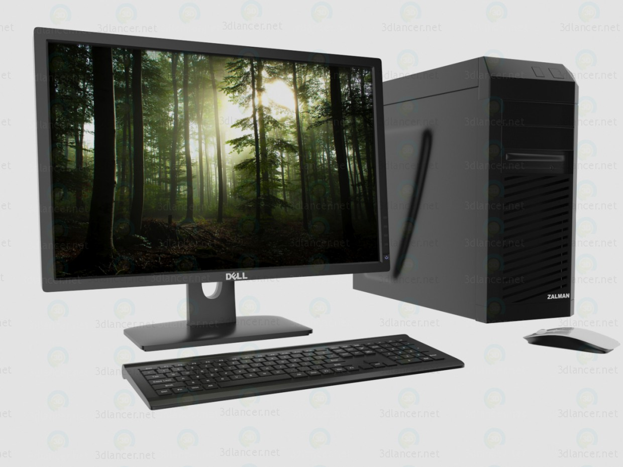 3d  Desktop PC  model buy - render