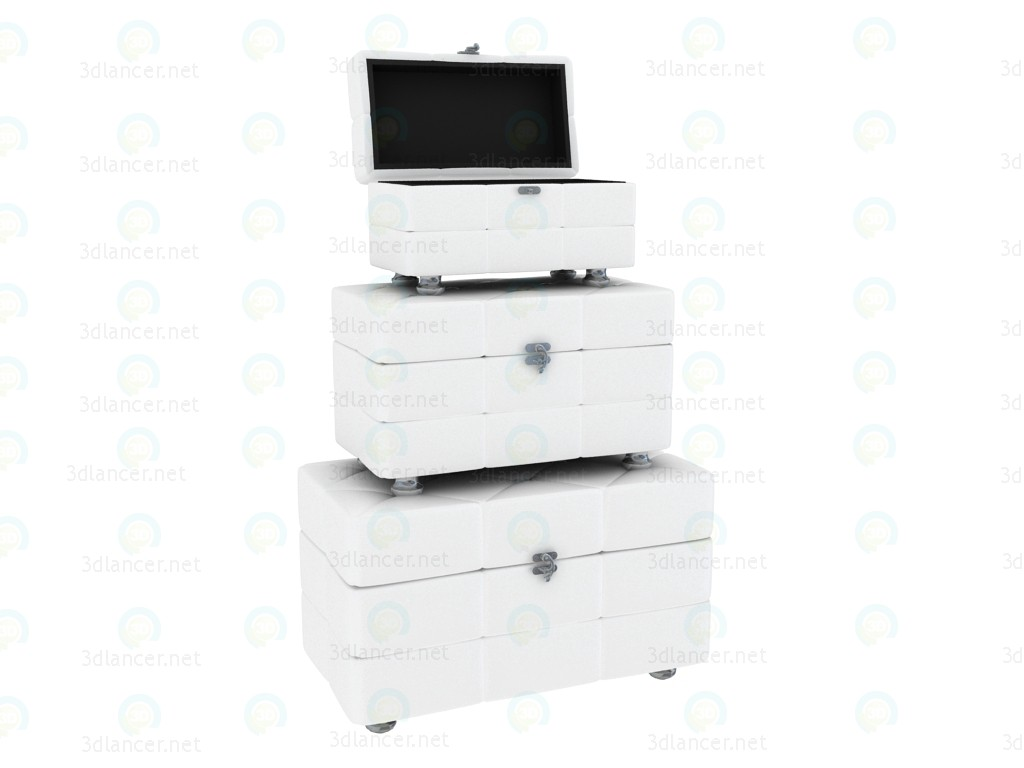 3d modeling Chest Shining, white (3 pieces included) model free download