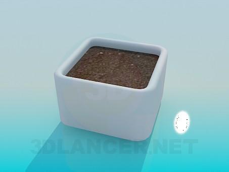 3d модель Квадратний горщик для рослини із землею – превью
