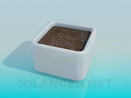 3d модель Квадратный горшок для растения с землей – превью