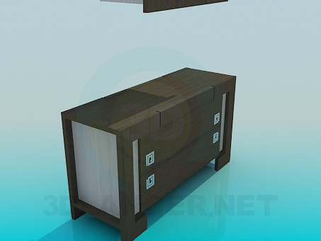 3d model Cupboard for TV and a shelf - preview