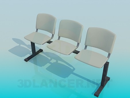 3d model Bench with individual seats - preview
