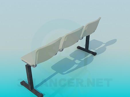 modelo 3D Banco con asientos individuales - escuchar