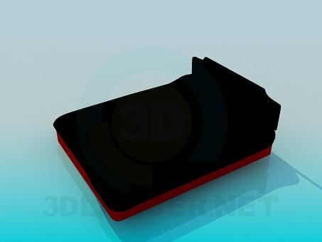 3d модель Ліжко з м'яким узголів'ям – превью