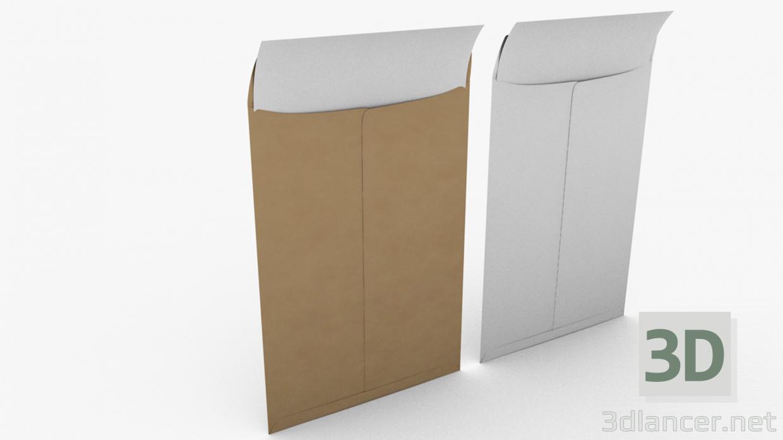 3d Envelope with Paper model buy - render