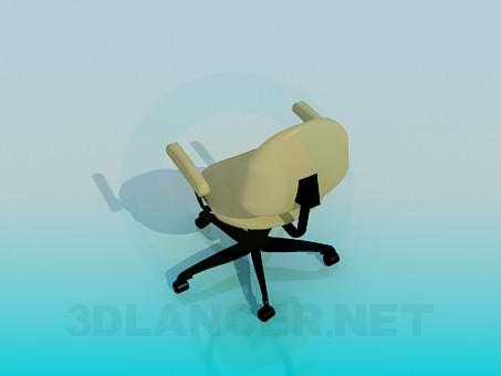 modelo 3D Silla de oficina con ruedas - escuchar