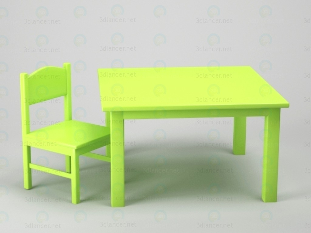 3d modeling Table + chair model free download