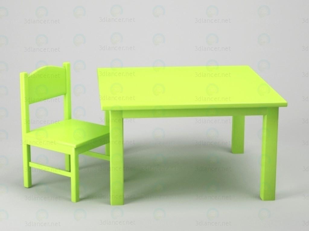 modelo 3D Mesa + silla - escuchar