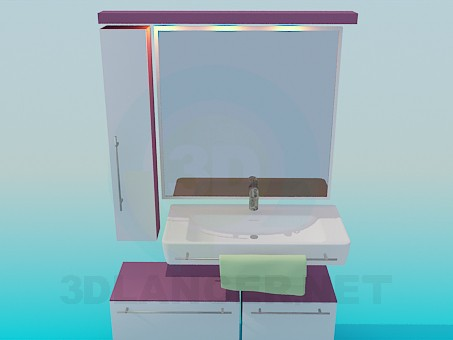 3d model The furniture in the bathroom - preview