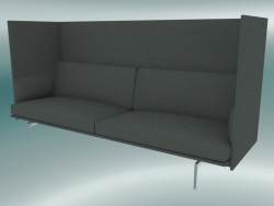 Triple sofa with high back Outline (Remix 163, Polished Aluminum)