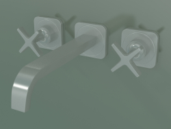 छुपा स्थापना के लिए 3-छेद बेसिन मिक्सर (36107000, स्टेनलेस स्टील ऑप्टिक)