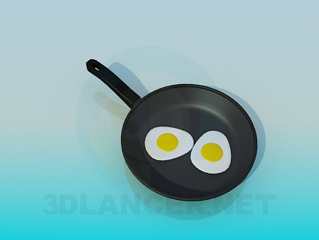 3d model Pan with fried eggs - preview