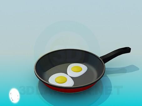 3d модель Сковорода с яичницей – превью