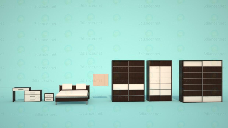 3d модель Корпусні меблі для спальні Ніколь – превью