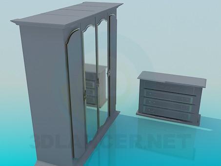 3d модель Шкаф и комод в наборе – превью