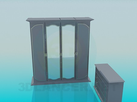 3d model Wardrobe and chest of drawers in the set - preview