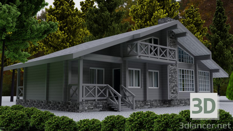 3 डी लकड़ी से लकड़ी का घर मॉडल खरीद - रेंडर
