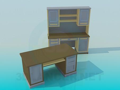 descarga gratuita de 3D modelado modelo Escrito y escritorio para trabajo de gabinete