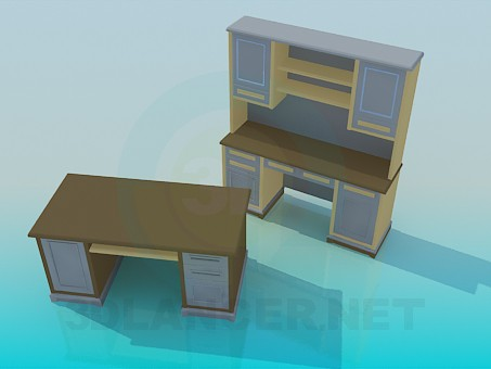 3d model Escrito and desk for working Cabinet - preview