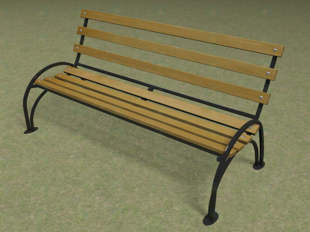 3d  Park bench  model buy - render