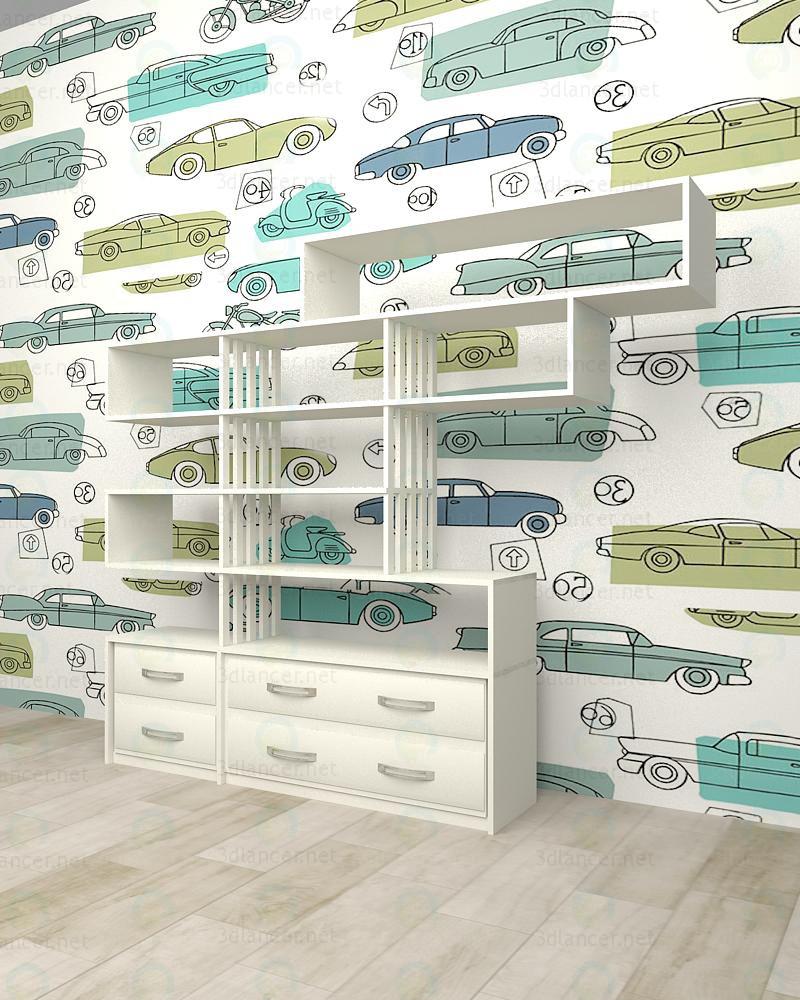 3d модель Меблева стінка в дитячу кімнату – превью
