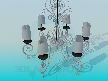 3d model Chandelier with spiral-shaped ceiling paintings - preview