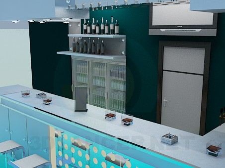 3d model Bar in the club - preview