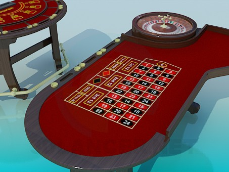 3d model Poker table and roulette - preview