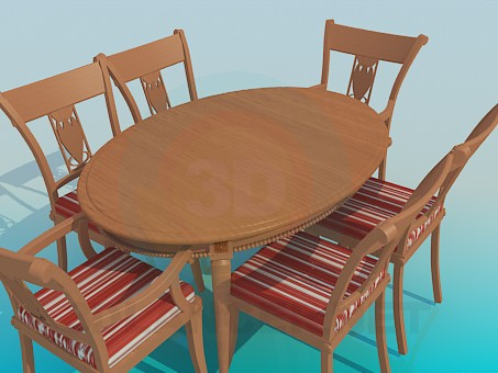 3d modeling Table and chairs included model free download