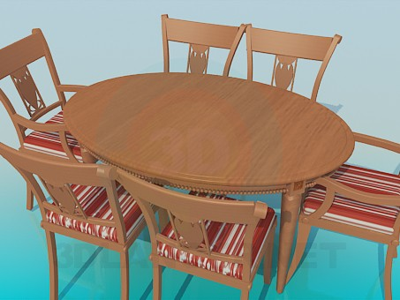 3d model Table and chairs included - preview