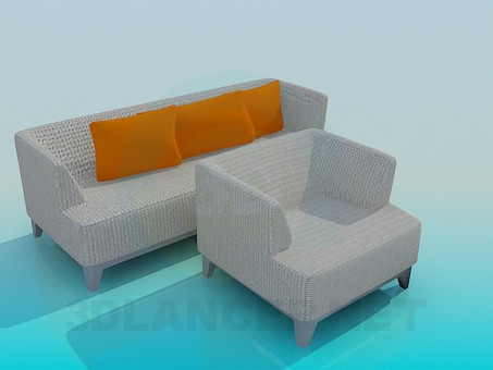 3d modeling Sofa and Chair set model free download