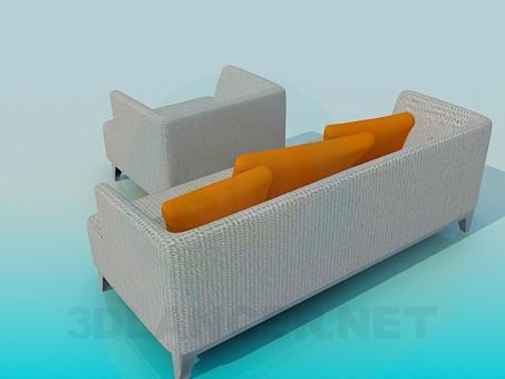 3d модель Диван и кресло в комплекте – превью