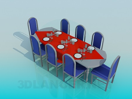 3d modeling Dining table a laid on 8 persons model free download