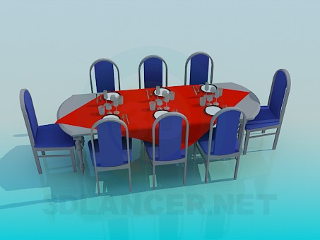 3d model Dining table a laid on 8 persons - preview