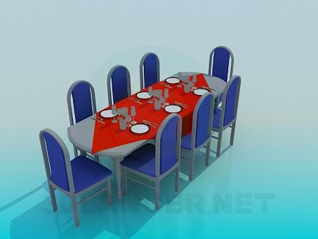 modelo 3D Mesa de un comedor de 8 personas - escuchar