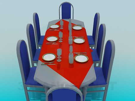 3d модель Обеденный стол накрытый на 8 персон – превью