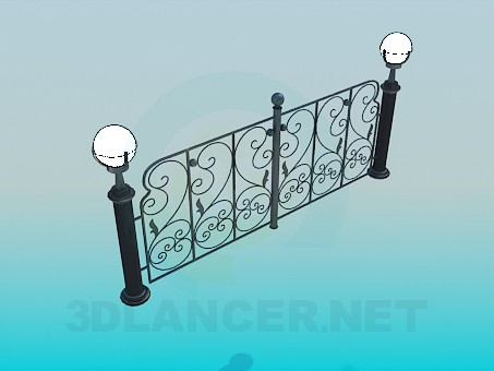 3d model Fence with lanterns - preview