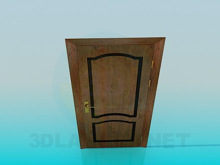 3d model Wooden door with a single handle - preview