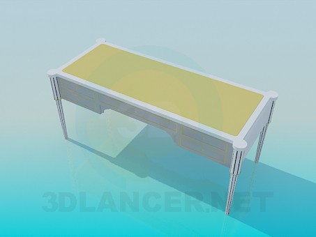 3d model Writing desk with drawers - preview