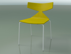 Stackable chair 3701 (4 metal legs, Yellow, V12)