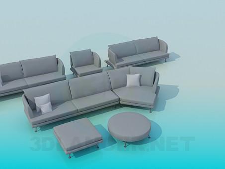 3d model Un conjunto de muebles tapizados - vista previa