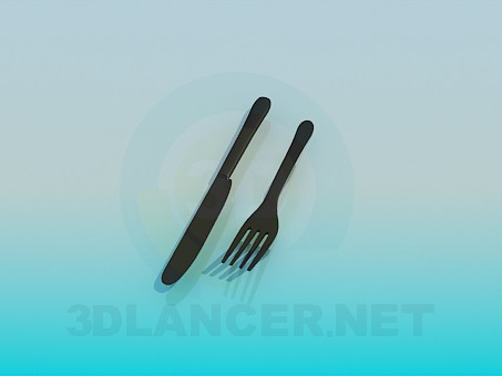 3d model Knife and fork - preview