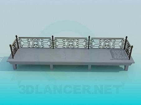 3d модель Лавочка из бетона – превью