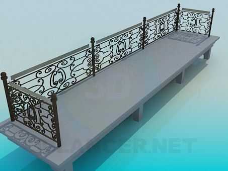 3d model Сoncrete bench - preview