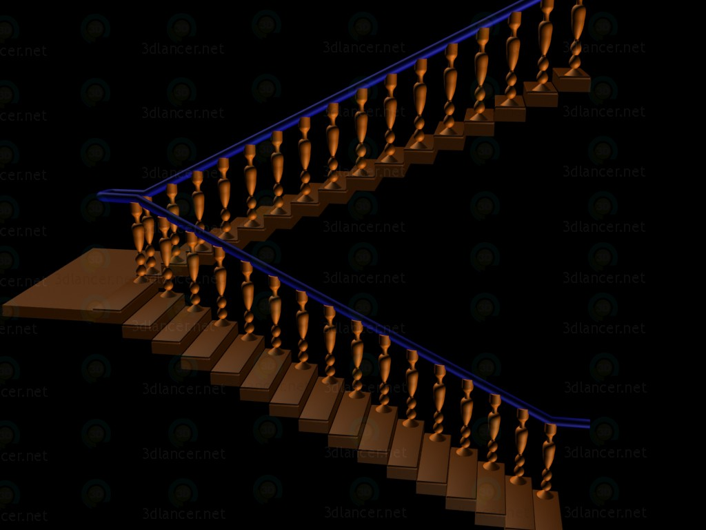 3d model Staircase with balusters - preview