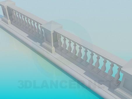 3d модель Мраморная ограда – превью