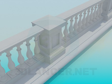3d model Мarble fence - preview